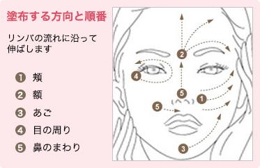 塗布する方向と順番 リンパの流れに沿って伸ばします 1.頬 2.額 3.あご 4.目の周り 5.鼻のまわり